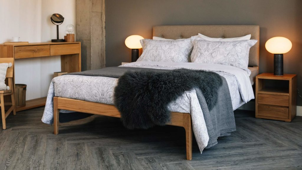 Grey bedroom with solid Oak furniture with upholstered Bloomsbury bed