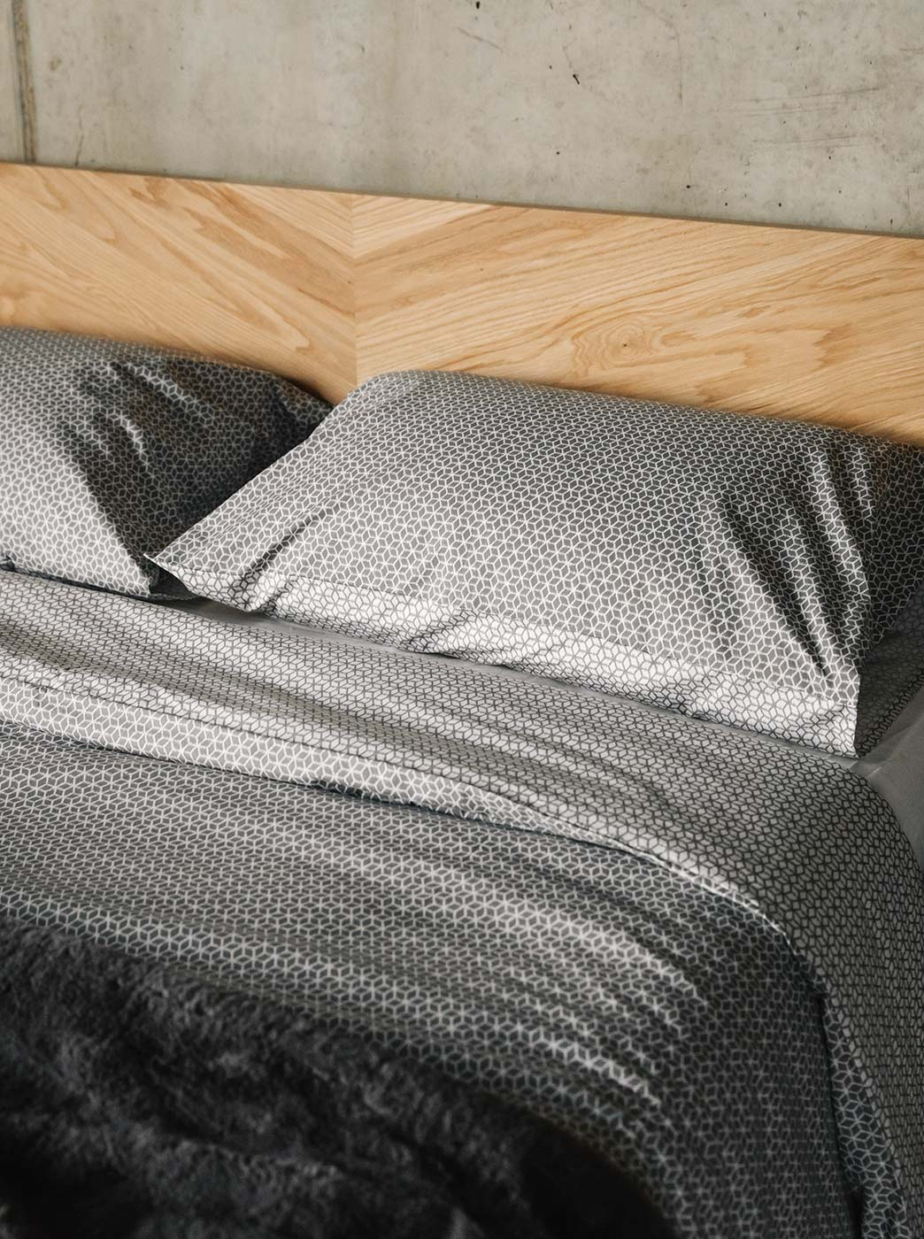 Sashiko reversible bedding - duvet set - grey
