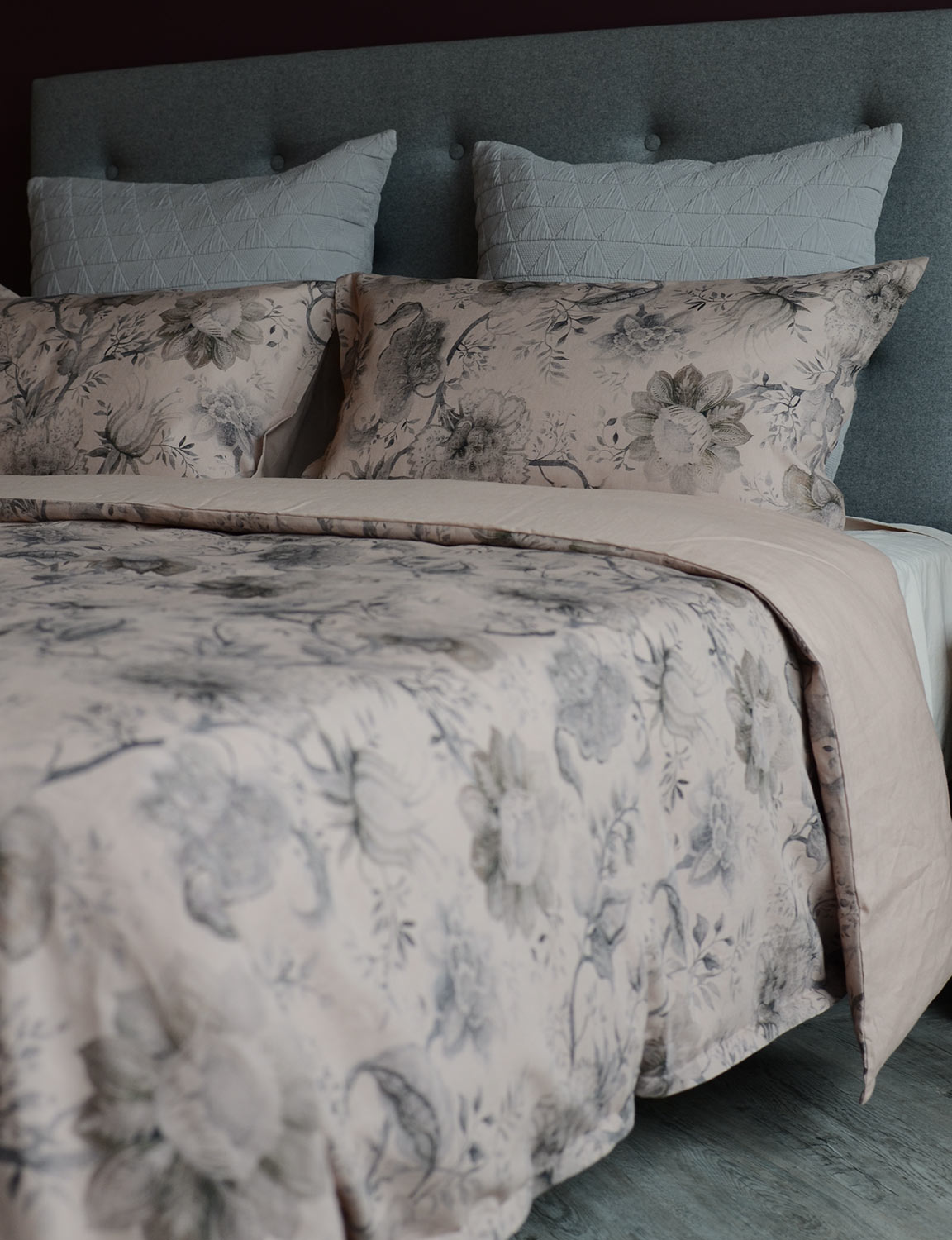 grey-stockholm-cushions-with-vintage print-bedding