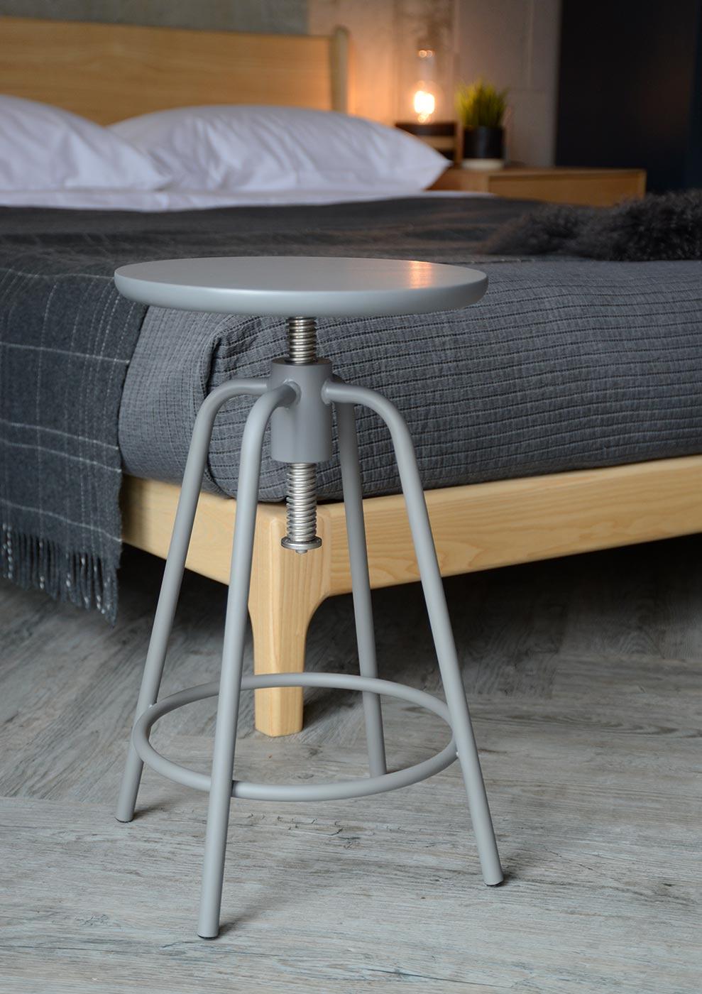 metal and hardwood stool in grey