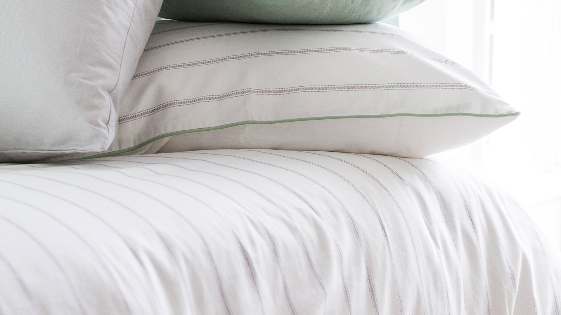 Classic Stripe Duvet Set White Grey Natural Bed Company