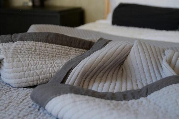 modern plain grey quilted bedspread with a dark grey border