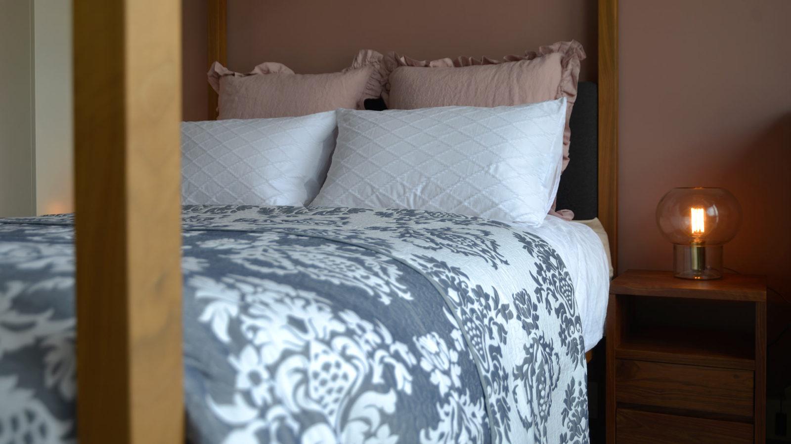 blue and ivory jacquard bedspread