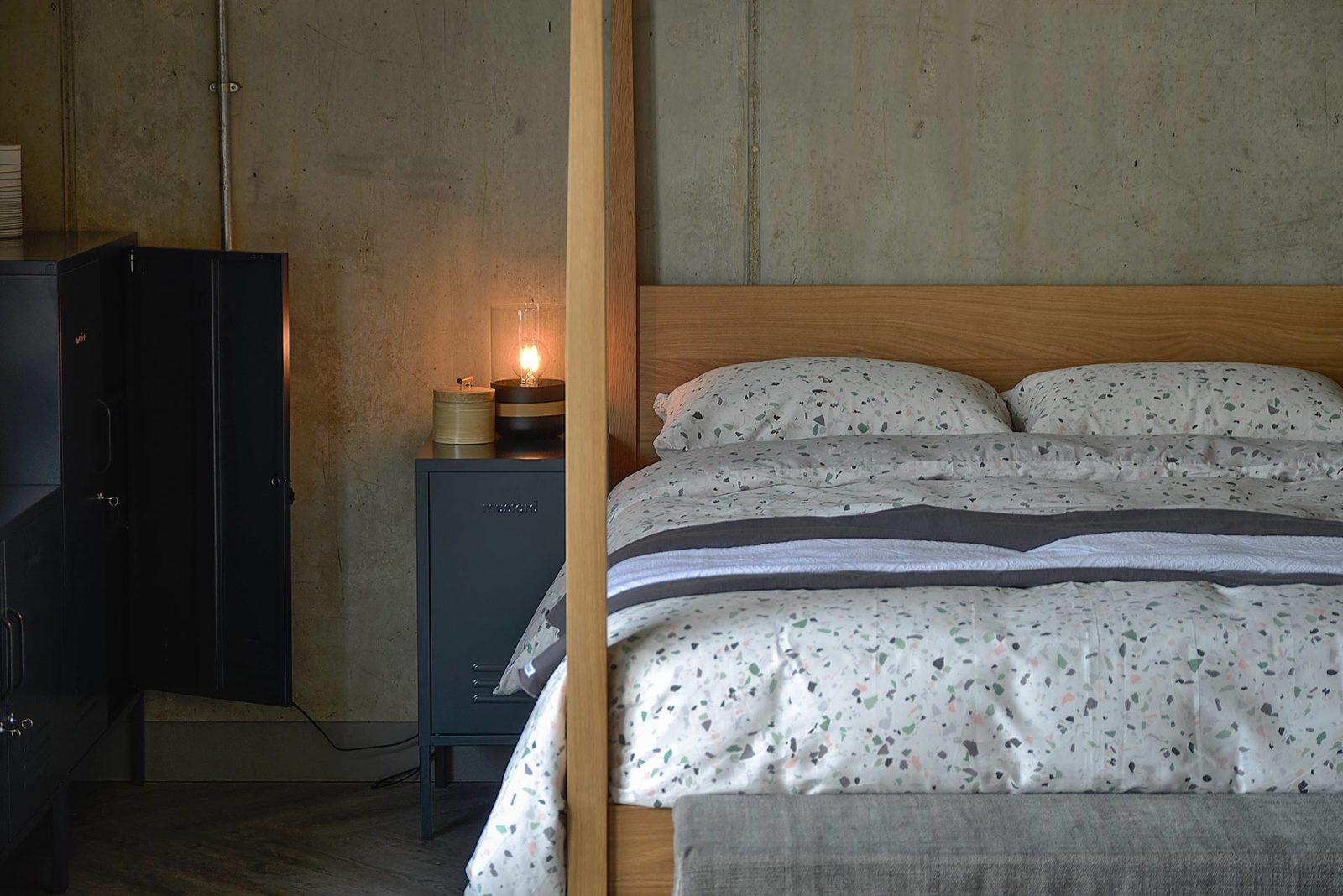 Hatfield oak bed and grey bedside locker