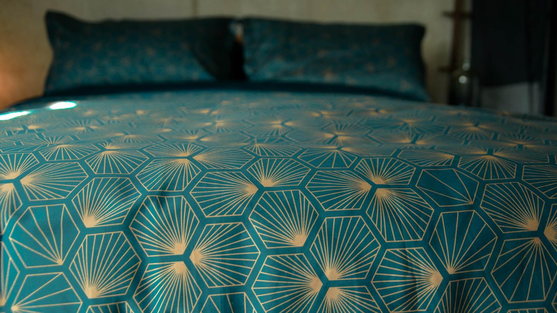 Luxury Dark Teal Bedding Hexagon Natural Bed Company