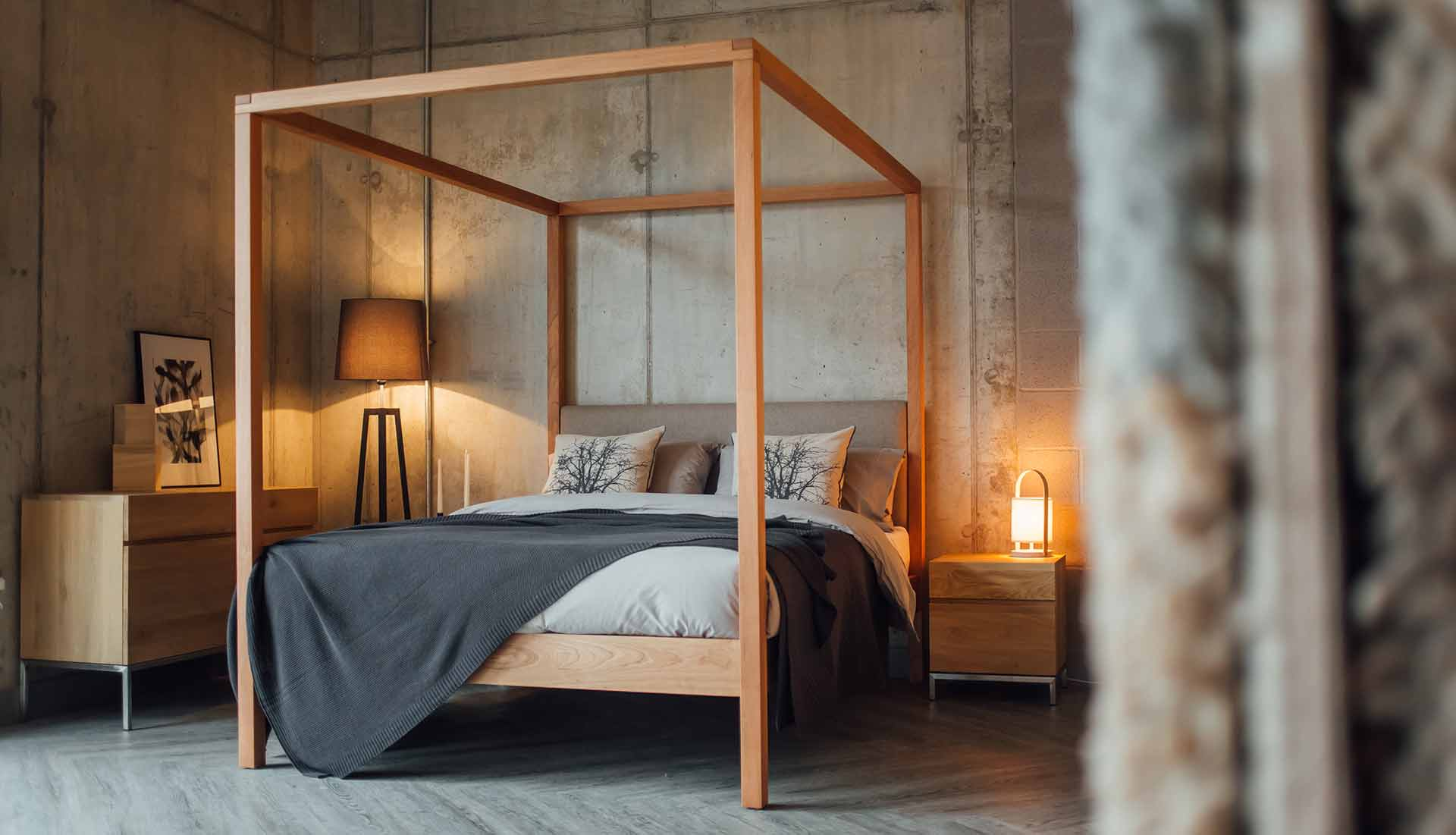 Neutral colours bedroom featuring our Classic Upholstered 4 poster bed, The Highland in cherry wood