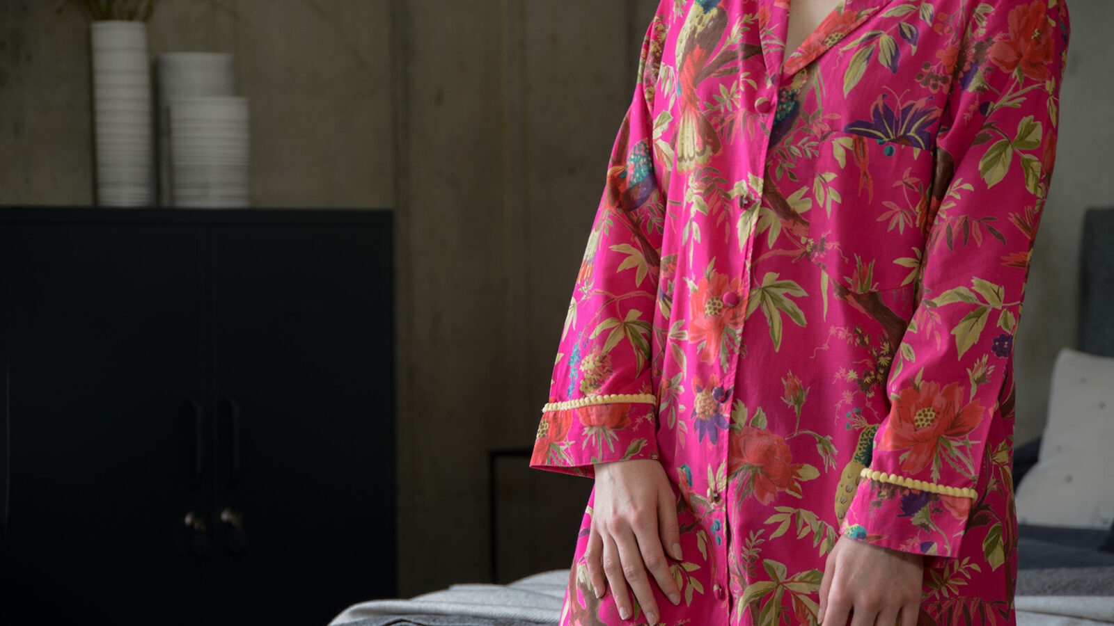 vibrant pink chinoiserie print light cotton nightshirt with bobble detail cuffs