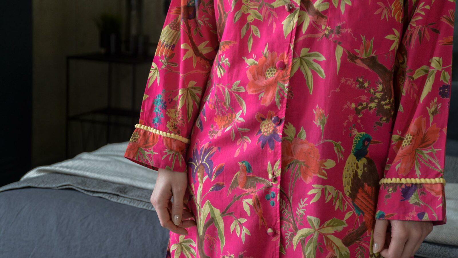 deep pink birds and flowers print cotton night shirt a closer view