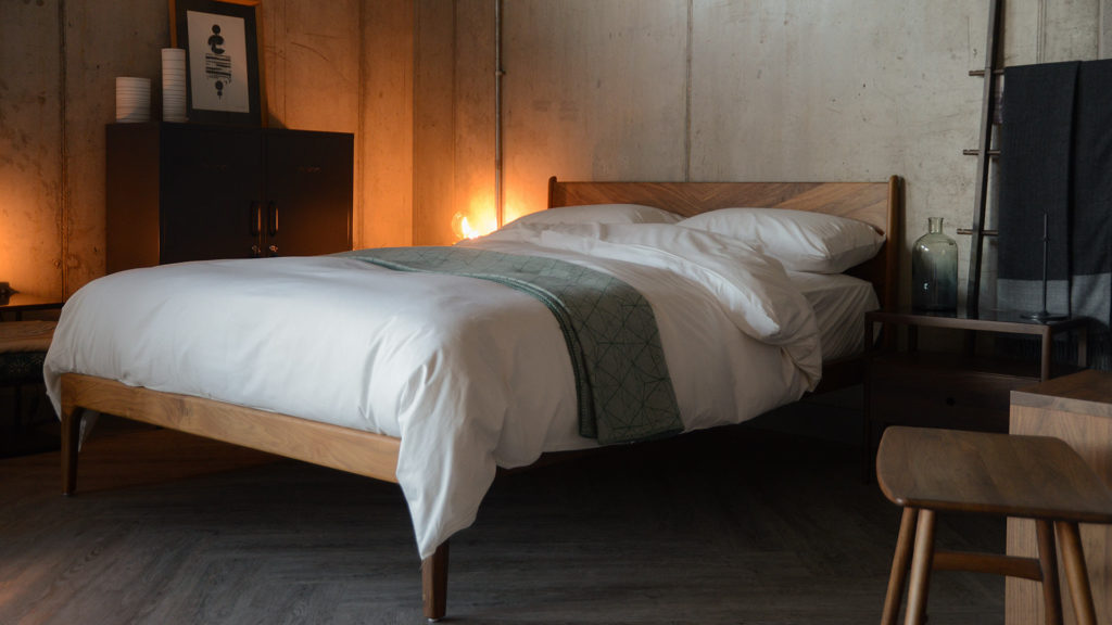 organic cotton bedding shown on our handcrafted solid wooden Hoxton bed