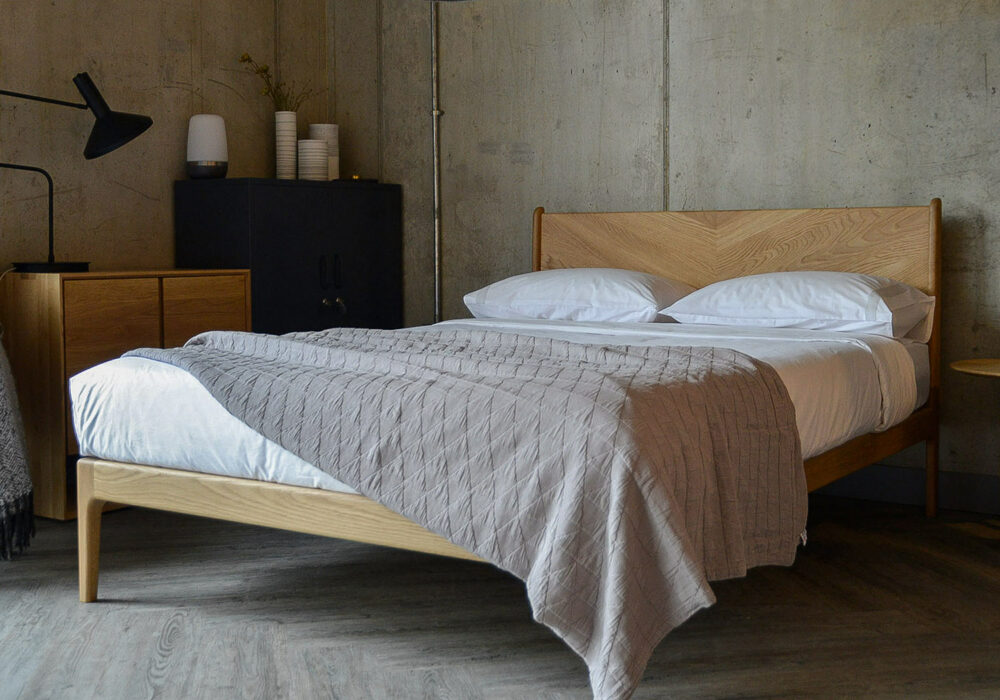 Hand made mid century style Hoxton Bed in Oak