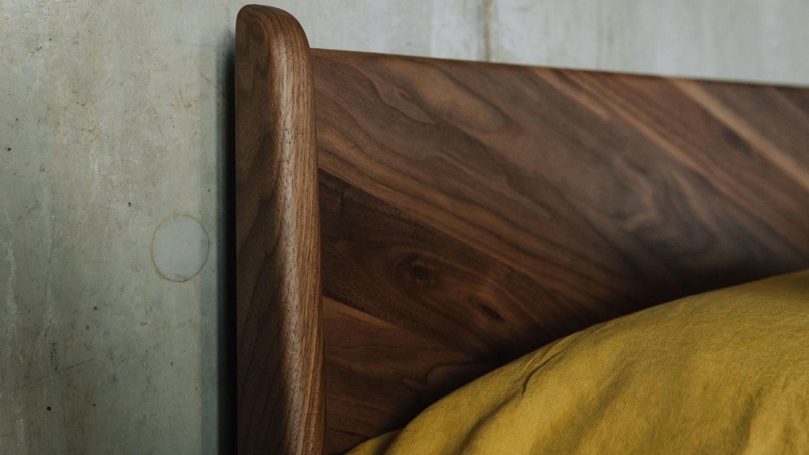 Hoxton bed -solid walnut headboard