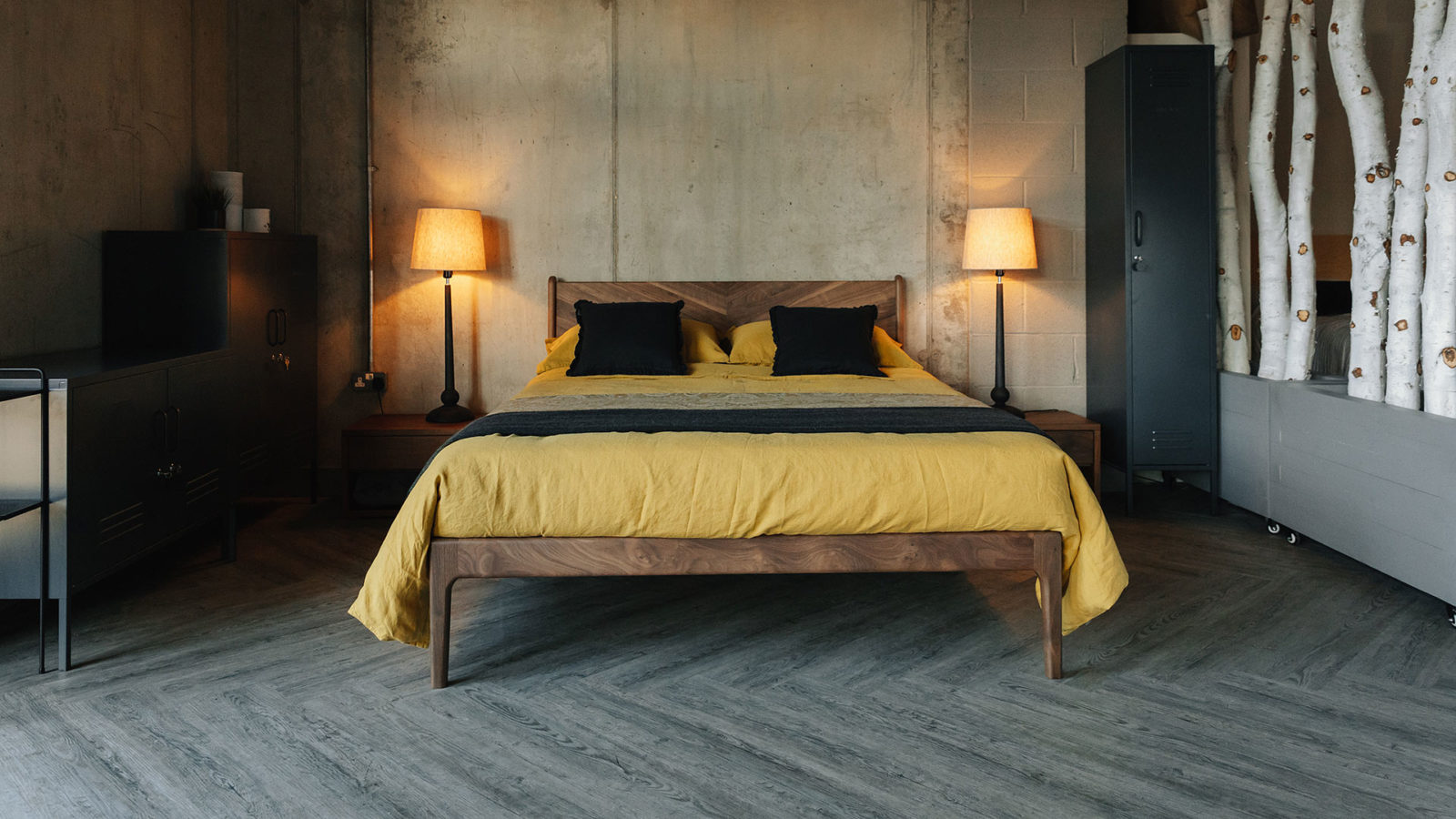 The Hoxton in walnut wood, a mid-century look bed with chevron pattern headboard