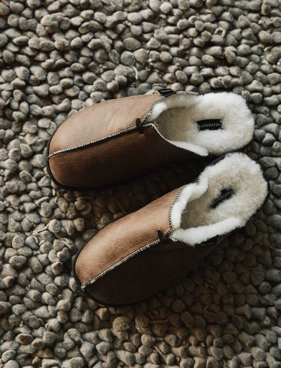 sheepskin slippers in brown