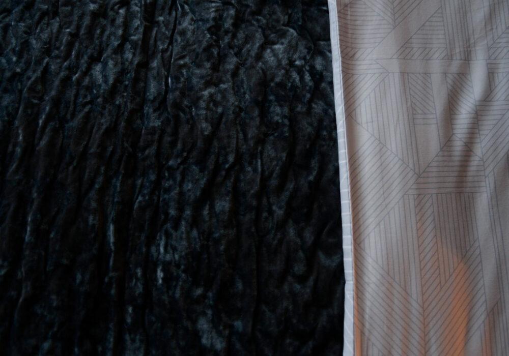 Blue/grey crushed velvet bedspread a closer view