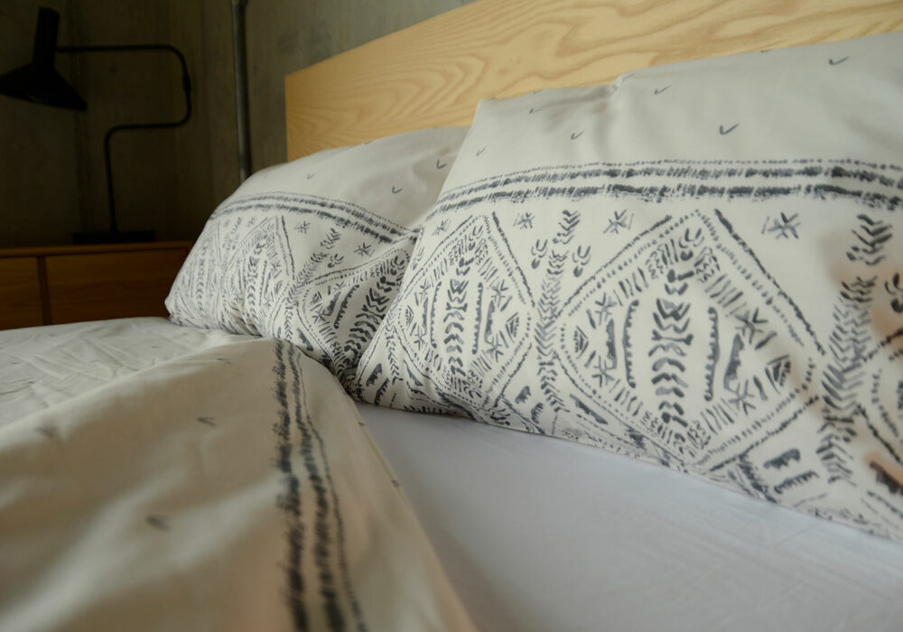 Riad pattern printed polycotton duvet cover set in grey and ivory