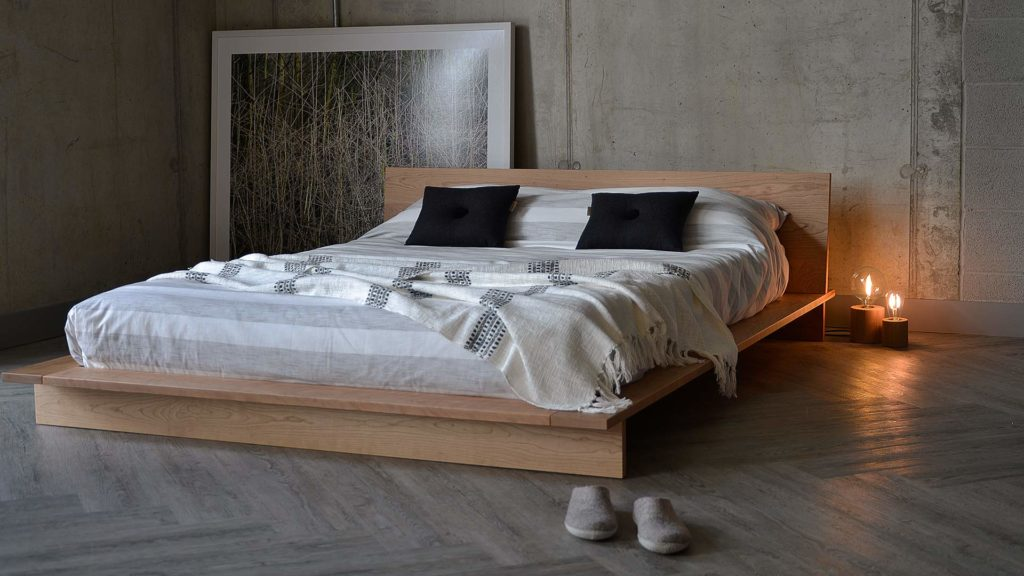 Loft style solid wood platform bed - The Oregon, shown in Cherry but to order in a choice of wood