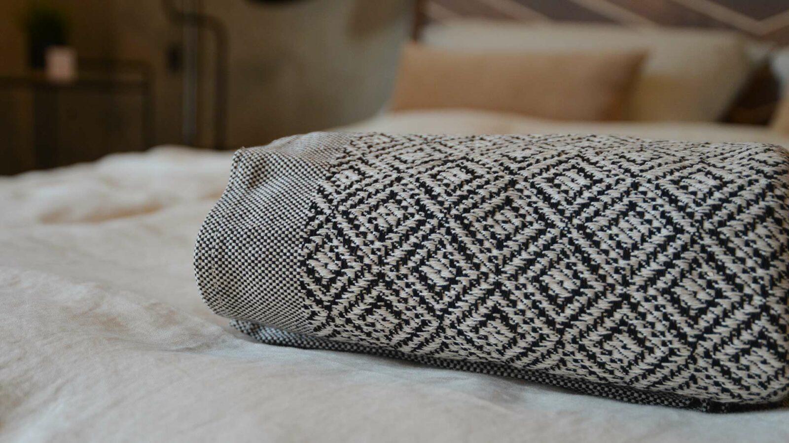 Black and white woven cotton bedspread
