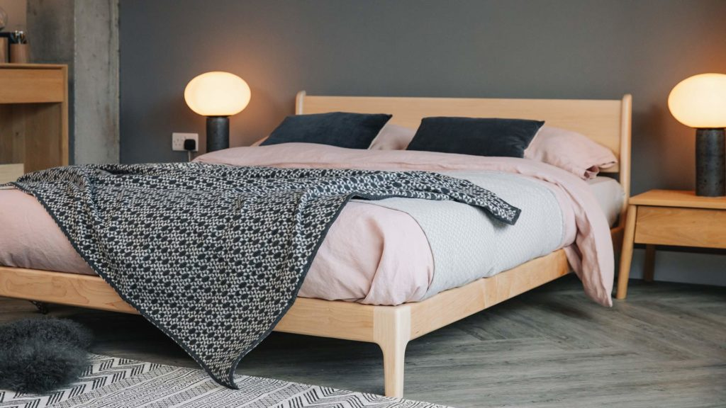 Hand made wooden Pimlico bed, here in Maple