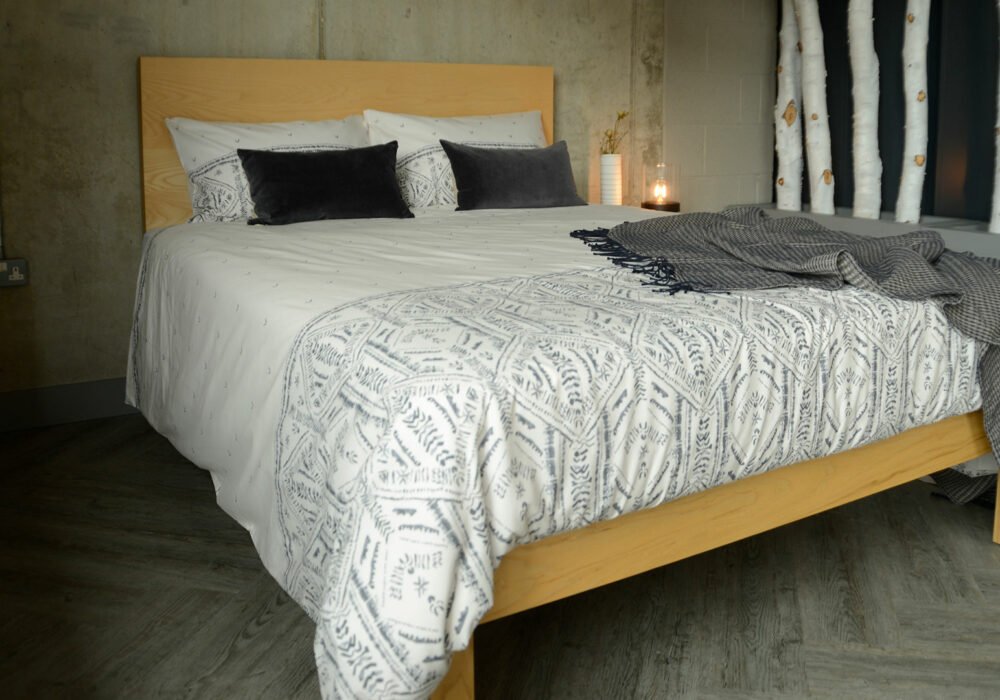 Riad ethnic style print Duvet cover set ivory and grey