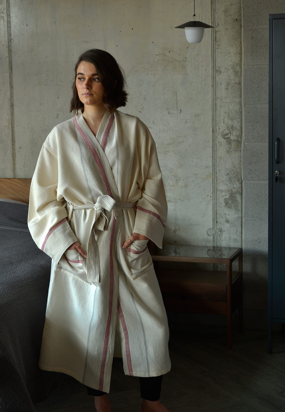ivory soft cotton robe with striped details a closer view