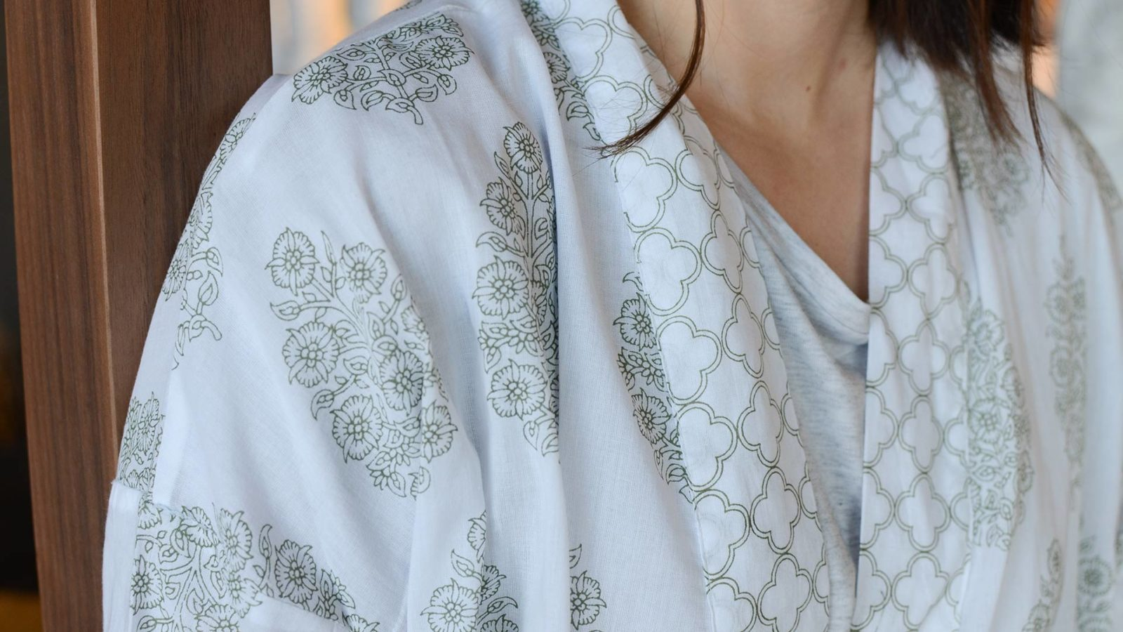 ivory-&-green-block-print-robe-detail