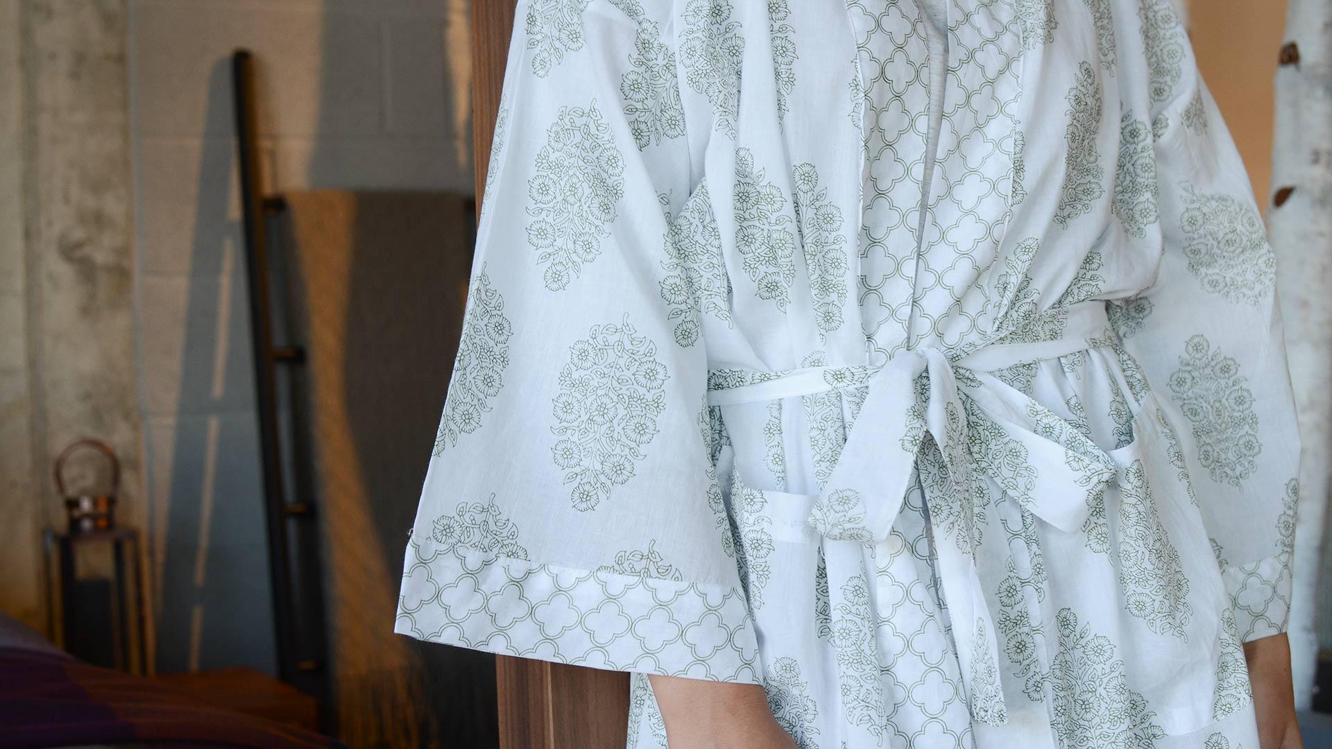Cotton Kimono Robe Block Print Style Pattern Natural Bed Company