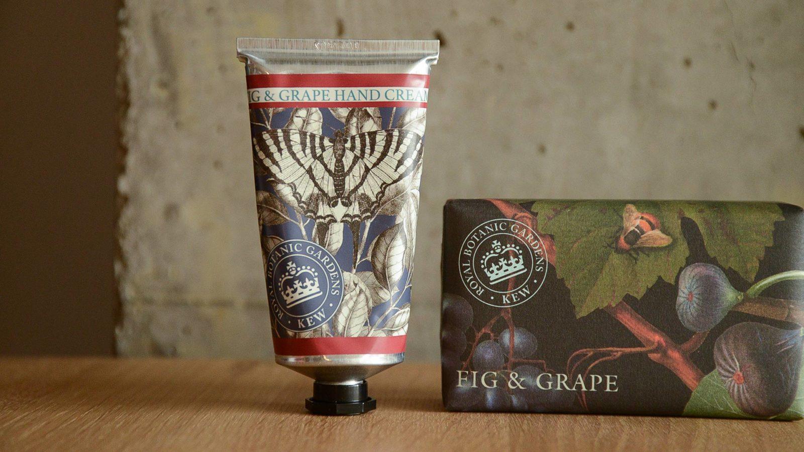Kew Gardens soap and hand cream hand care set fig and grape