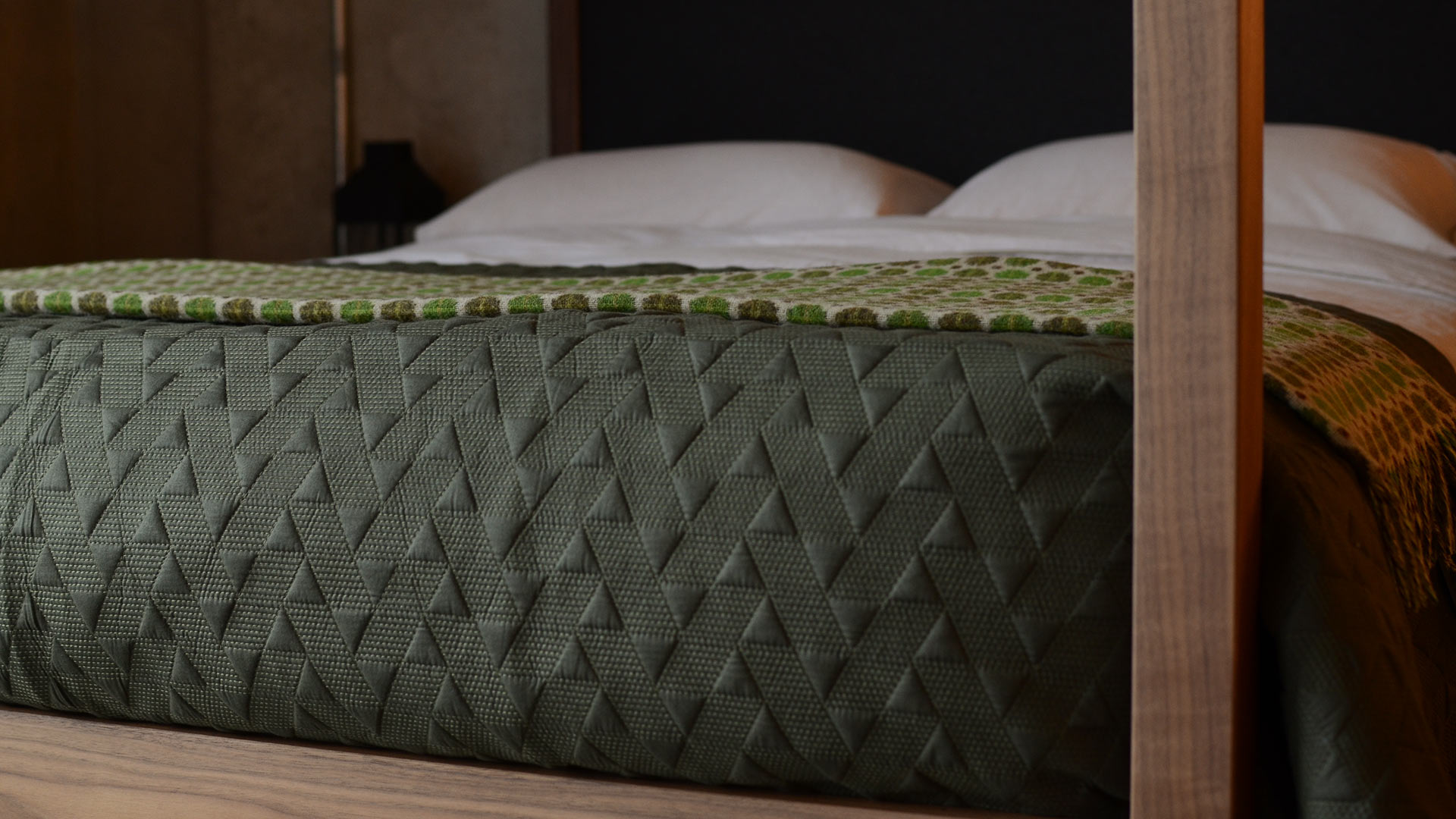 Stitched Bedspread Army Green Natural Bed Company