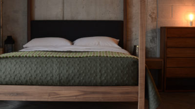 khaki stitched bedspread shown on our solid wood classic 4 poster bed The Highland