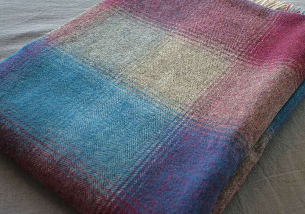 teal, grey and cerise check soft lambswool throw
