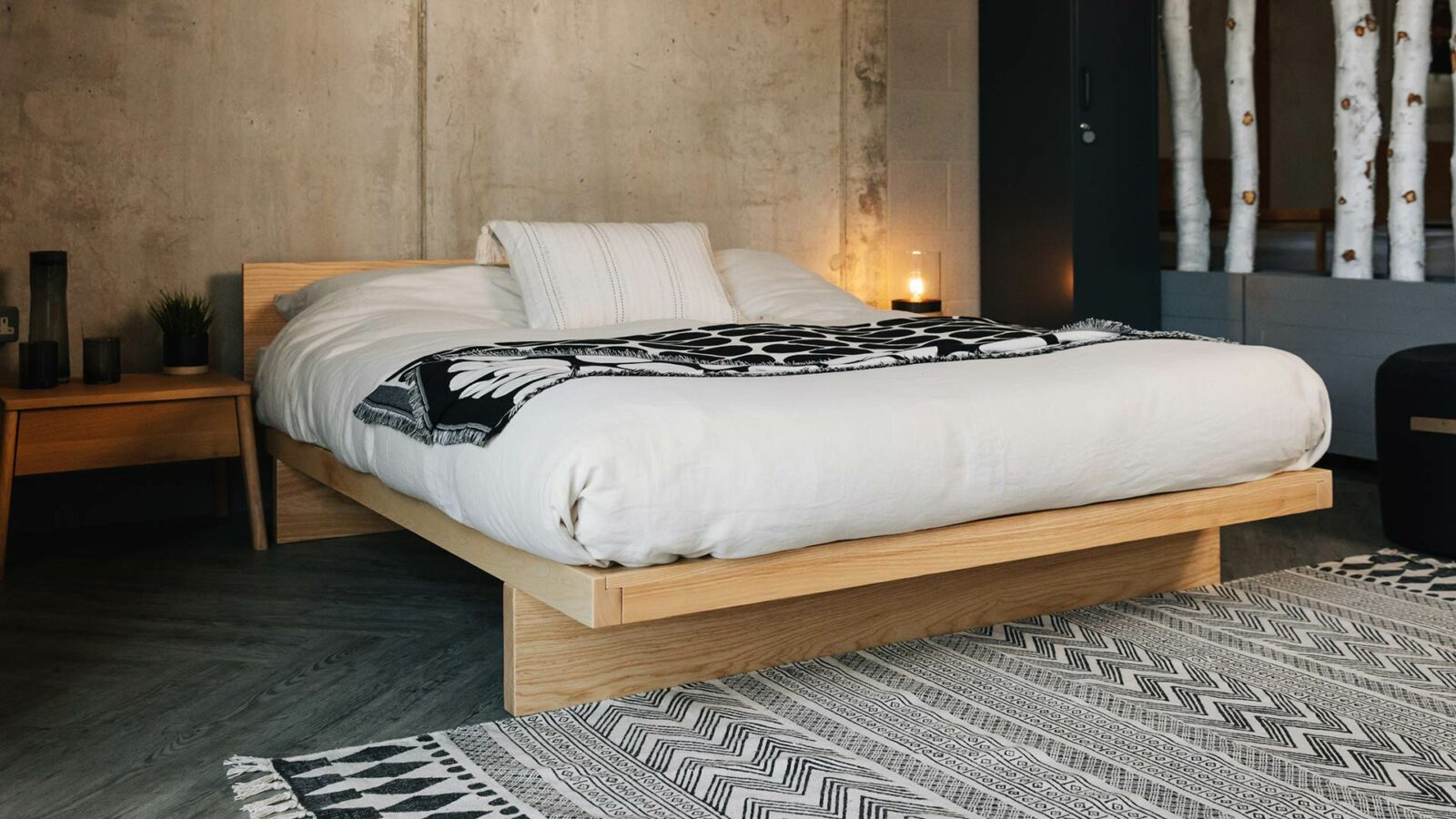 Solid Ash Kyoto Bed Frame with Headboard in a modern monochrome Japanese style setting