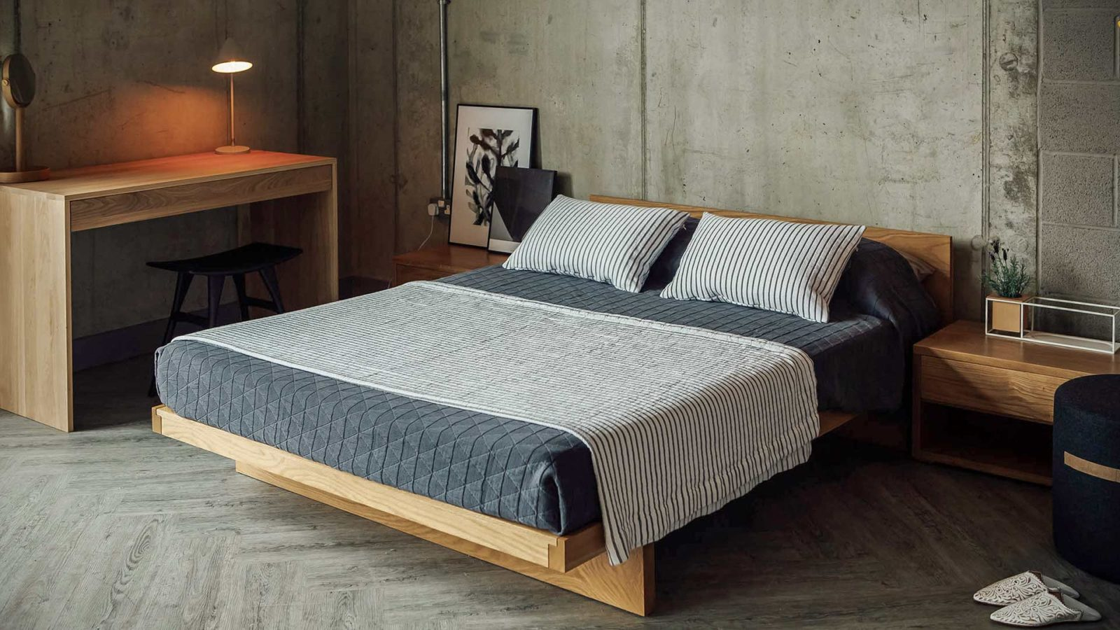 Our low Japanese style Kyoto bed in Solid Oak and Kingsize.