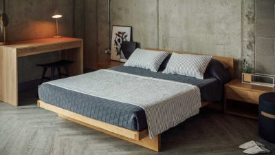 kyoto-bed-with-stockholm-bedspread-and-striped-throw-and-cushions