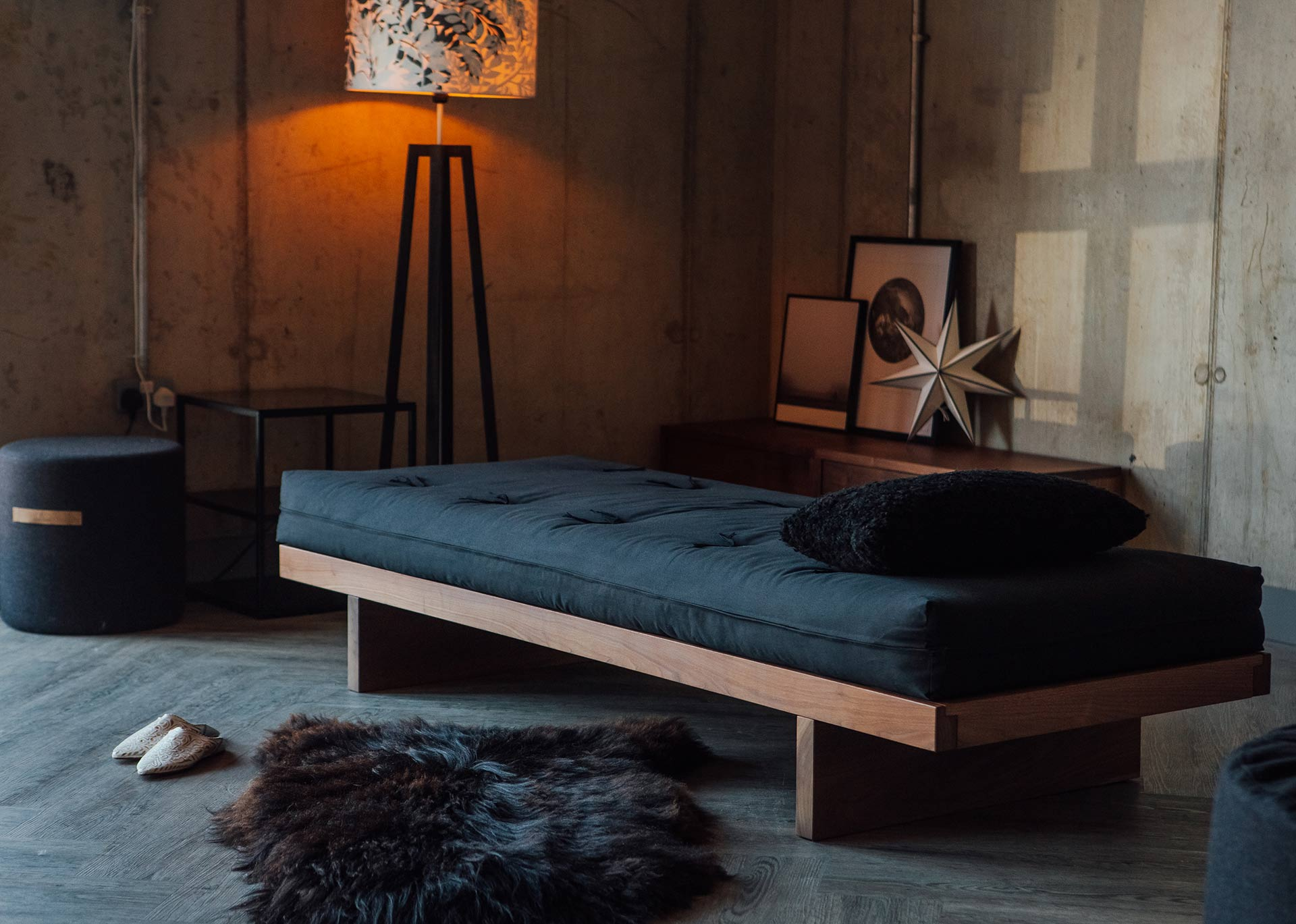 A Scandinavian inspired room setting for our Kyoto futon day-bed made in solid walnut wood
