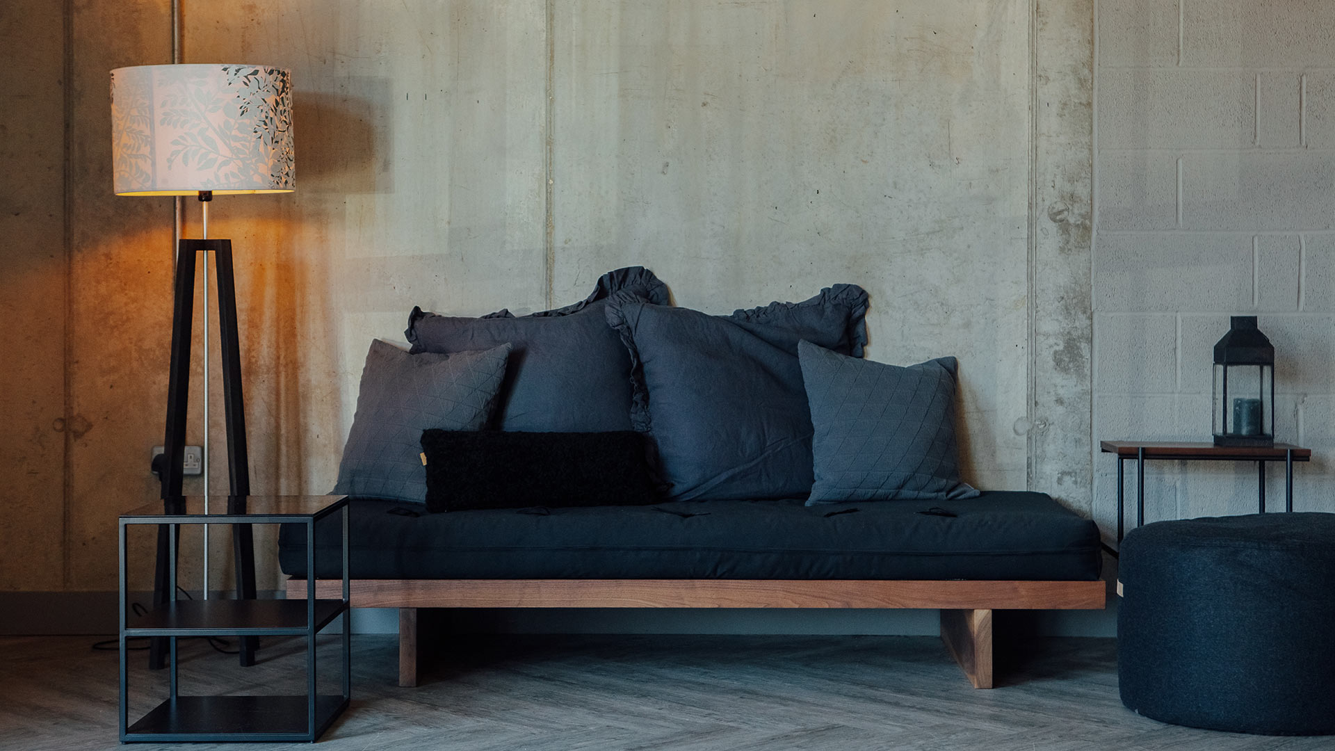 Hand made solid wood kyoto daybed with slate grey cushions and black futon mattress