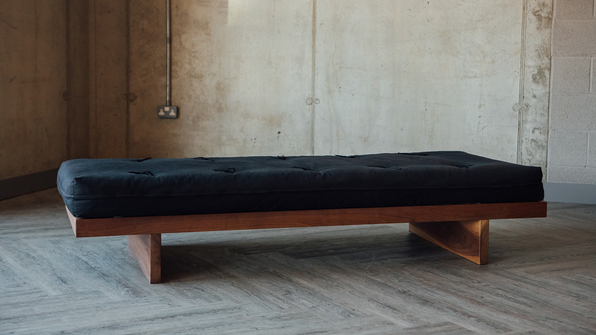 Kyoto futon day-bed - the solid wood frame is made to order in a choice of wood.
