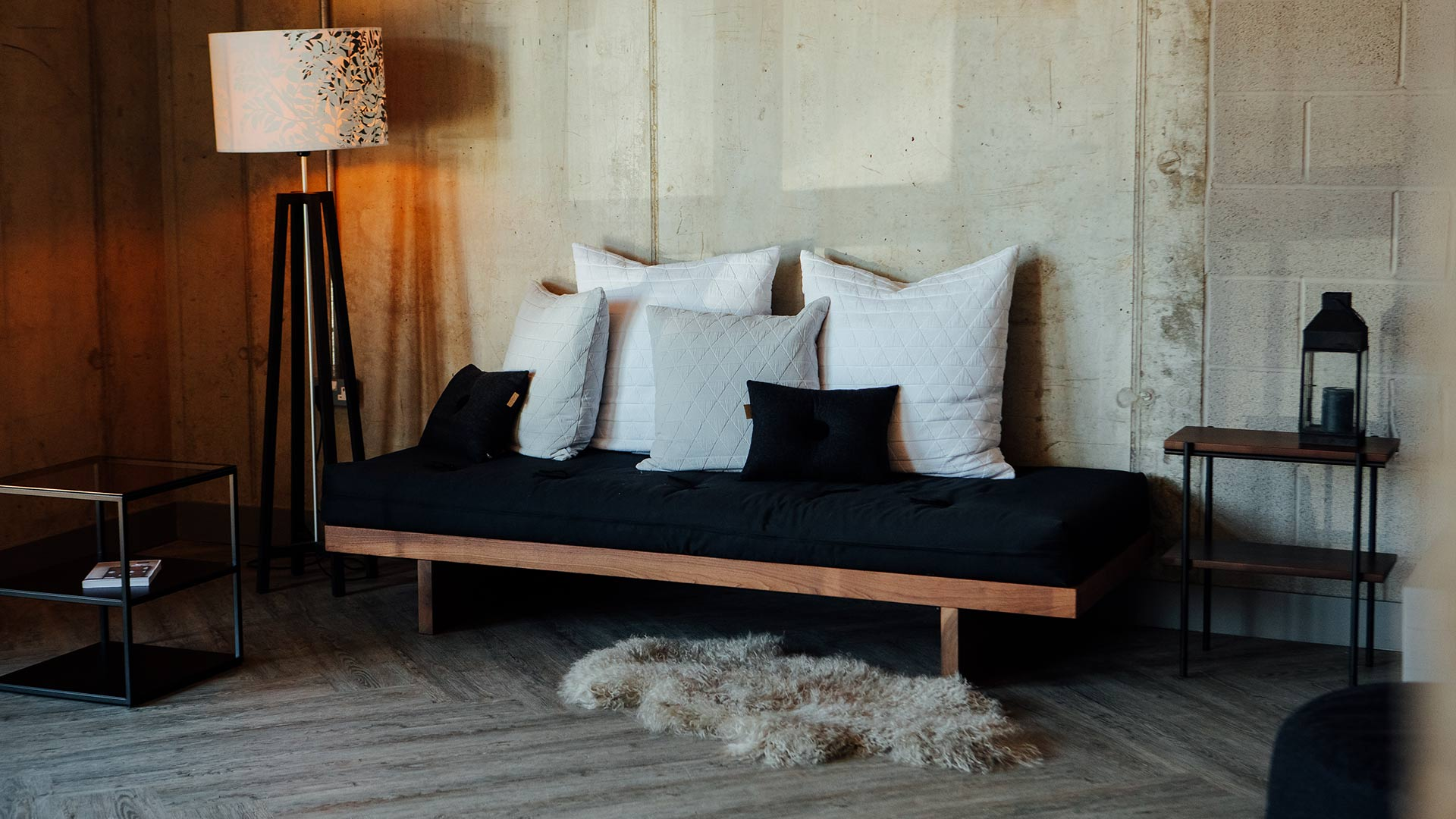 the Kyoto futon day-bed is used here as a sofa, a great spare bed with dual use