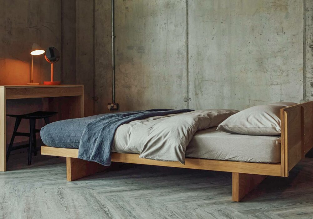 Made in UK in a range of sizes and wood options - our Kyoto Japanese style low bed.