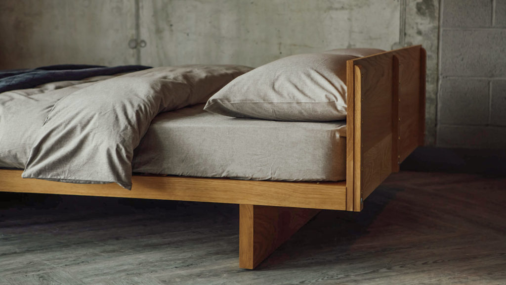 Kyoto low Japanese-style bed comes with or without a Headboard. Here's a view of how the headboard attaches to the frame