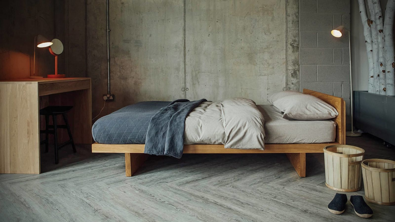 Japanese style solid wood Kyoto low loft Bed in Oak and with organic bedding.