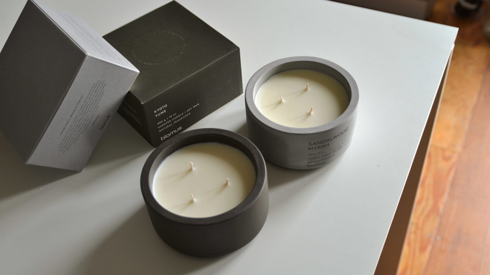 scented candles in concrete pots