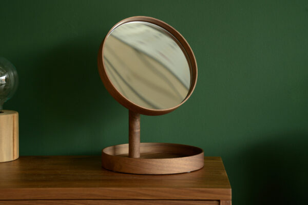 walnut wood adjustable magnifying mirror with tray