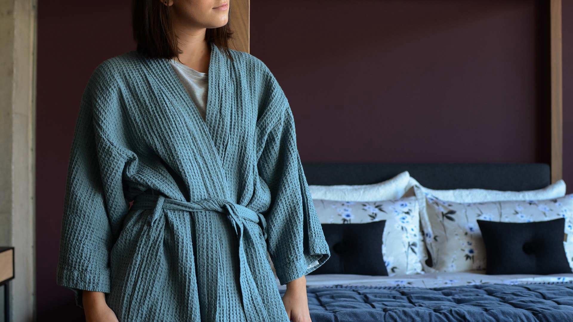 Lead Blue Waffle Cotton Kimono Robe Natural Bed Company