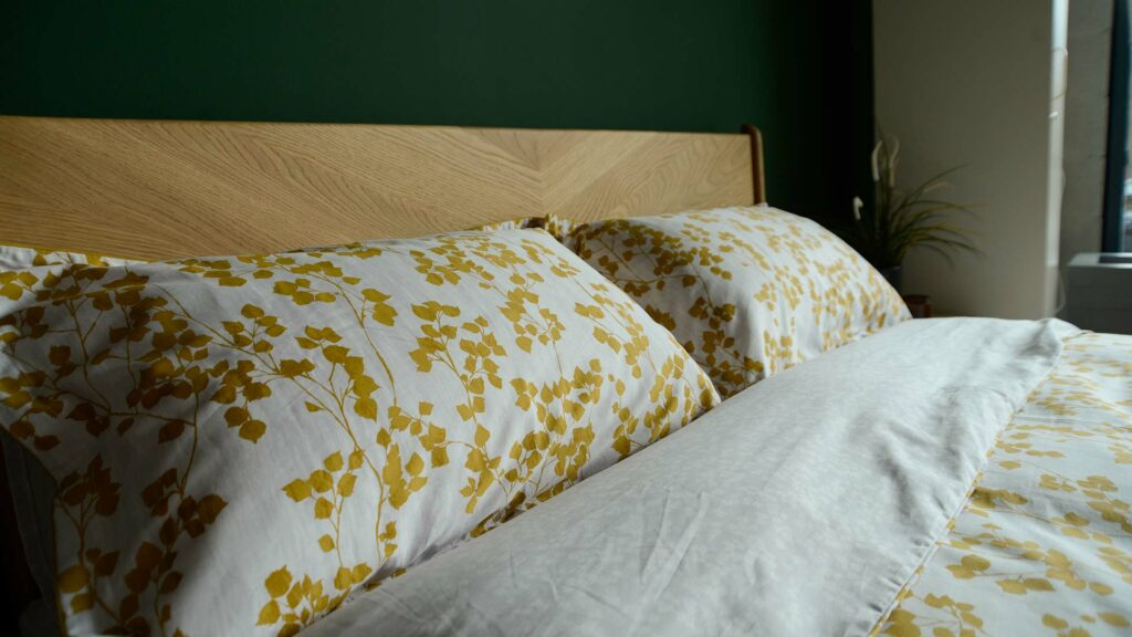 reversible leaf print duvet cover set in mustard yellow