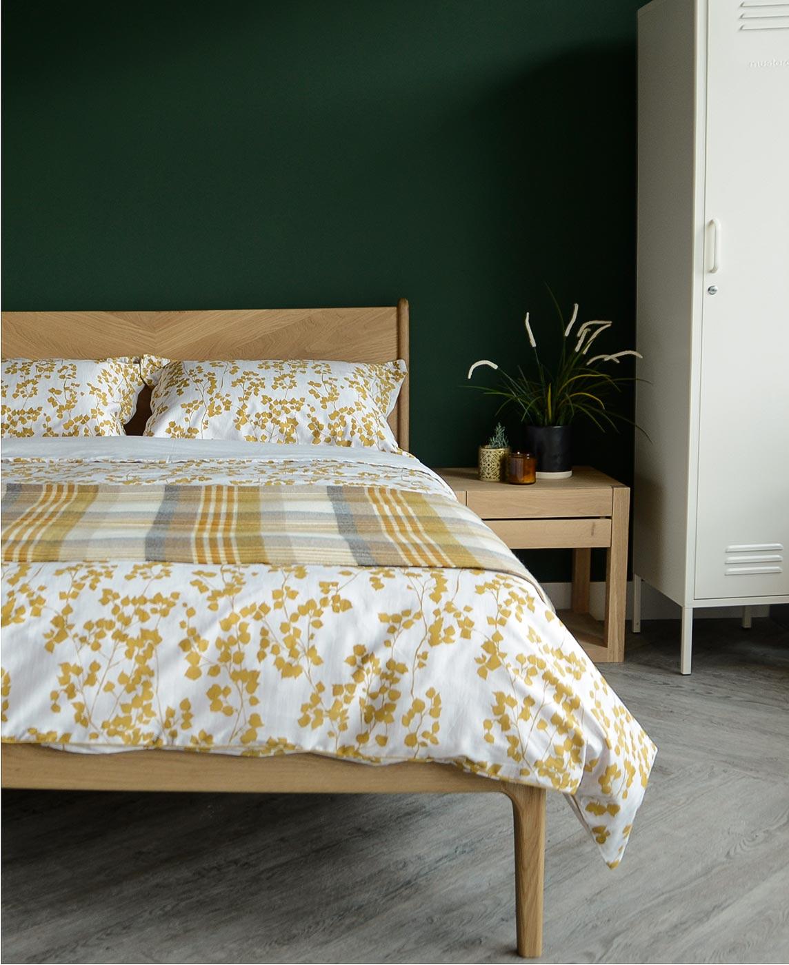 spring summer bedding, mustard yellow leaf print on white