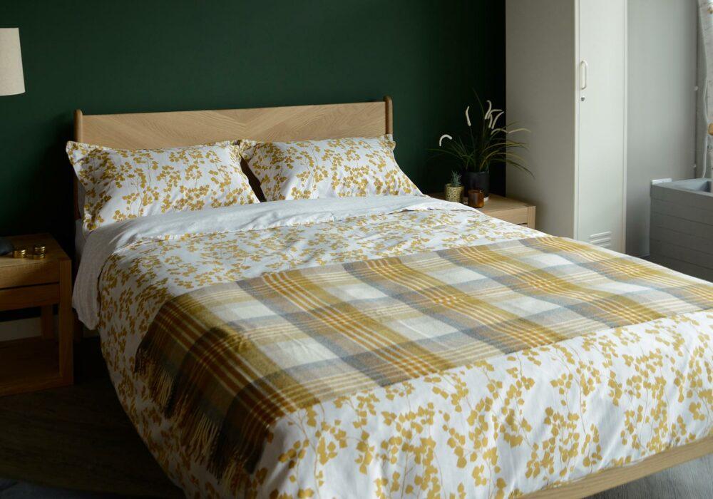 spring summer bedding, mustard yellow leaf print duvet set