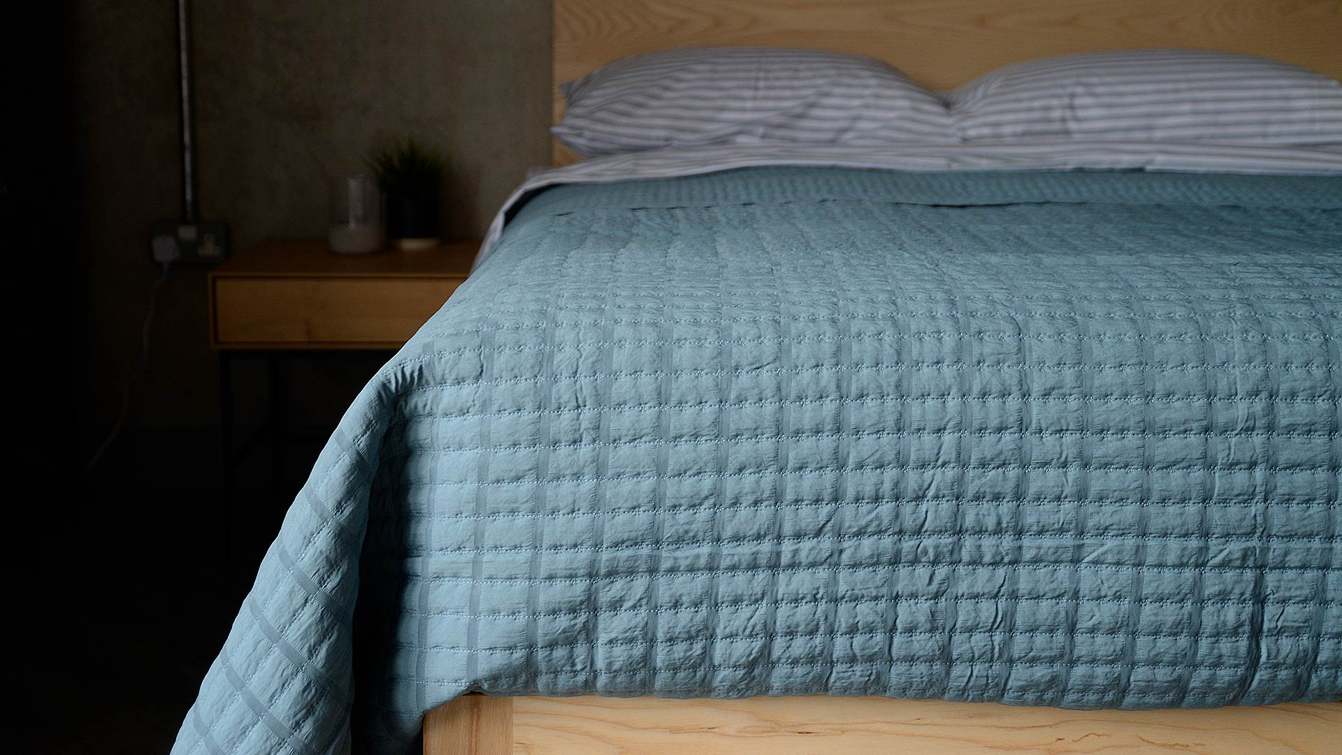 Muted Mid Teal Bedspread Natural Bed Company