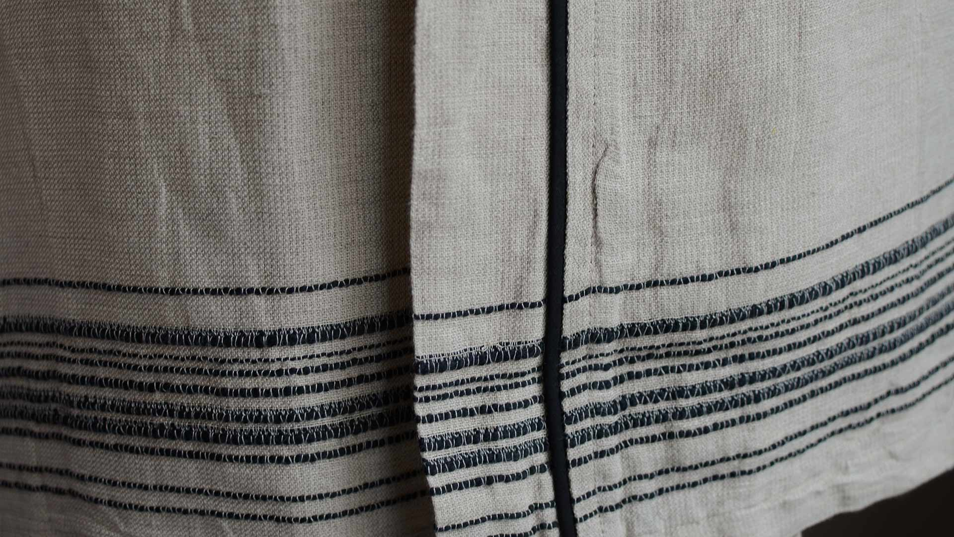 linen rich-robe-stitched-detail