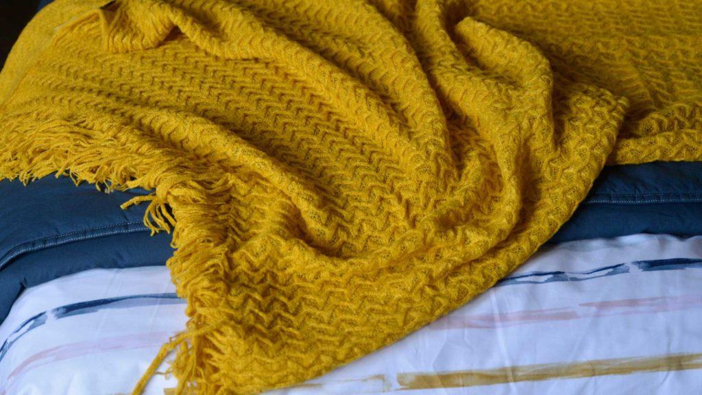 turmeric yellow loose knit throw