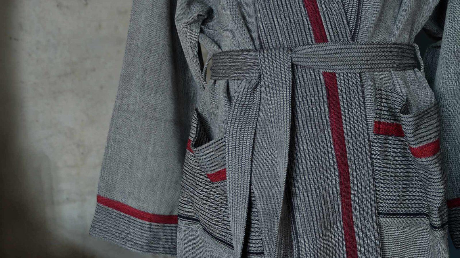 grey striped soft cotton robe a closer view